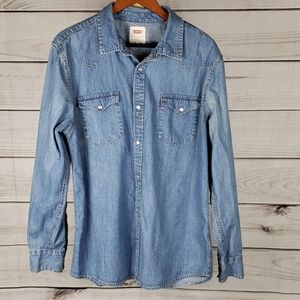 NWOT Levi's • XL shirt chambray pearl snaps blue
